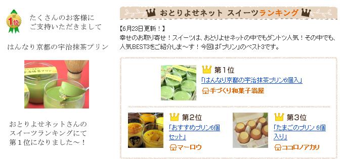 はんなり京都の宇治抹茶プリンがおとりよせネットスイーツランキングにて1位獲得しました。